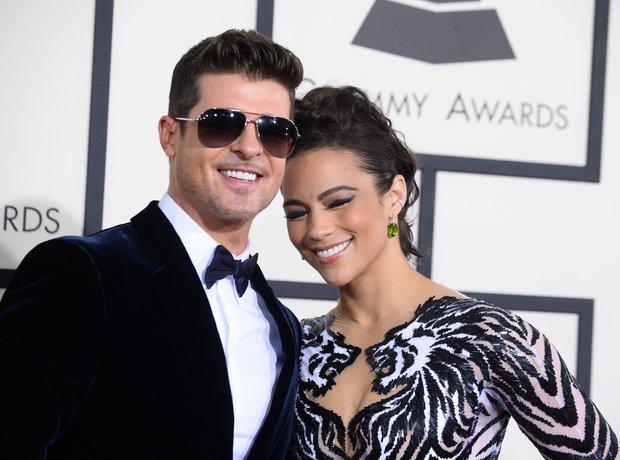 Robin Thicke and Paula Patton at the Grammy Awards