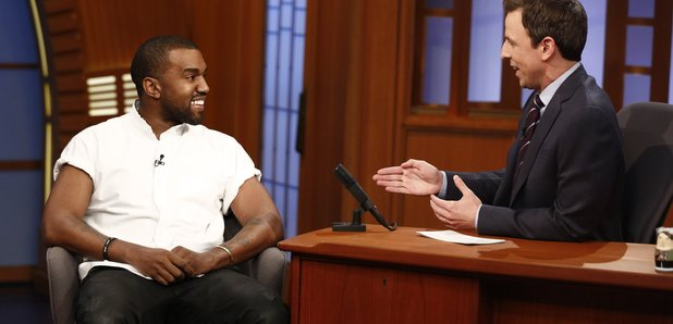 Kanye West and Seth Myers on the late show