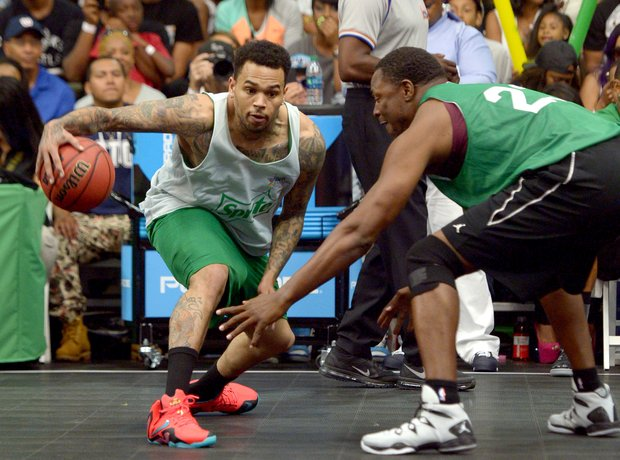 Chris Brown during a celebrity basketball