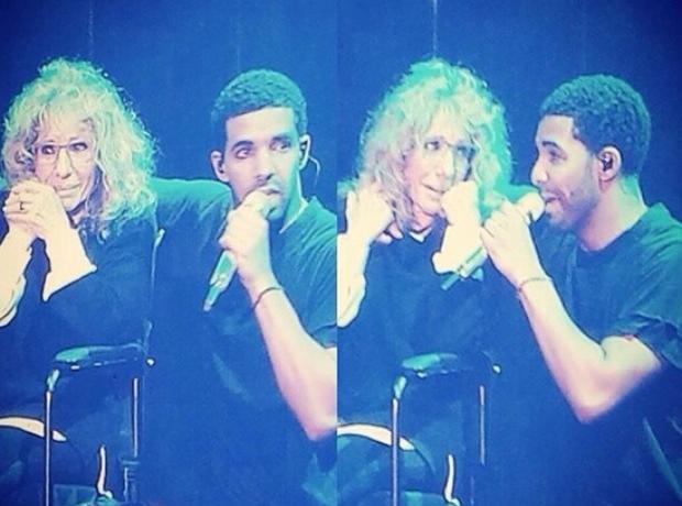 Drake and his mum OVO Fest 2014