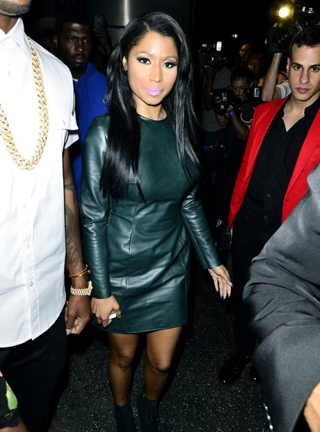 Nicki Minaj in leather dress at VMAs afterparty