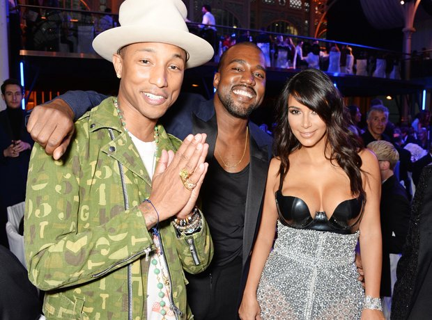 Pharrell Williams, Kanye West and Kim Kardashian a