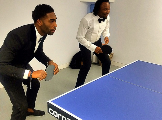 Tinie Tempah playing Table Tennis