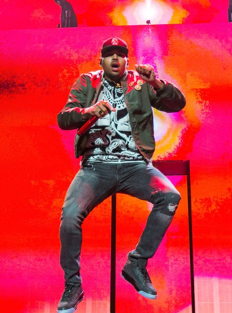 Chris Brown perfroms on his tour