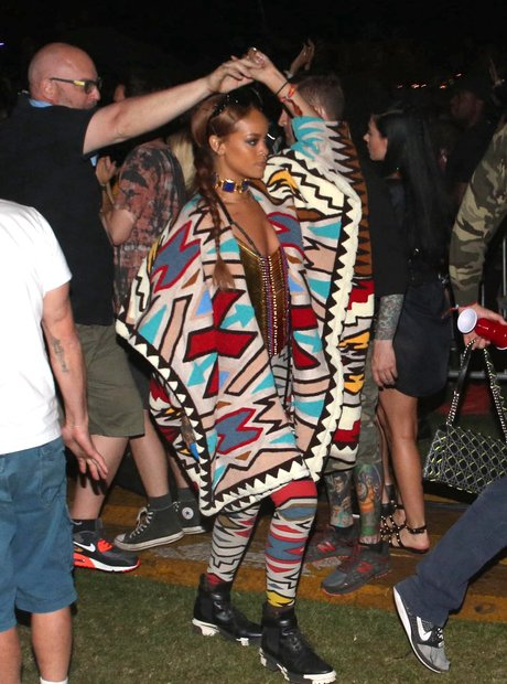 Rihanna Colourful Coat Coachella 2015