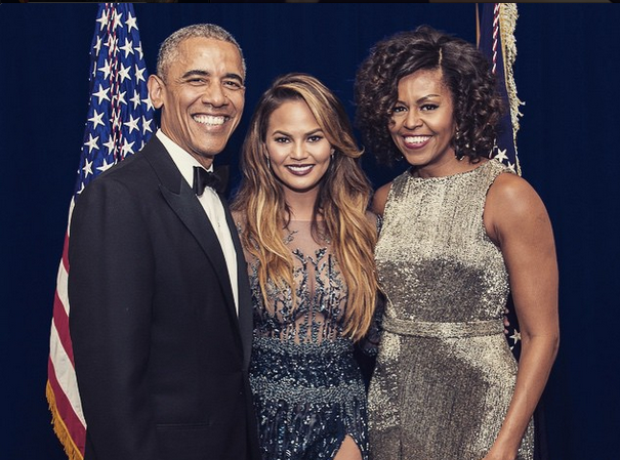 Chrissy Teigen Barack and Michelle Obama