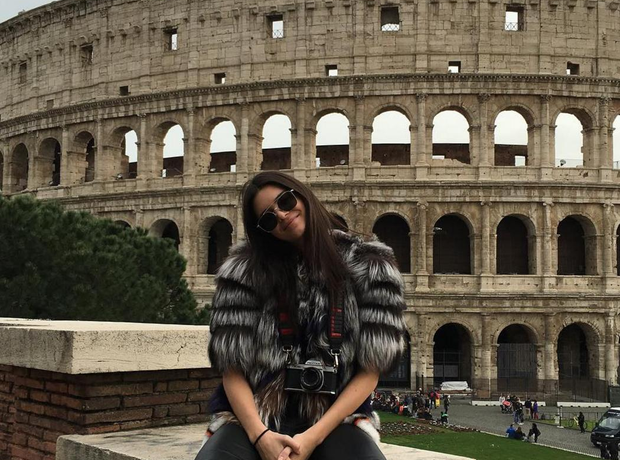 Kendall Jenner outside the Rome coliseum