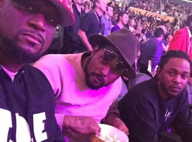 Kendrick Lamar and Schoolboy Q at basketball game