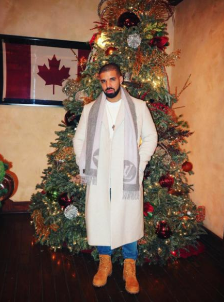 Drake in front of a Christmas tree