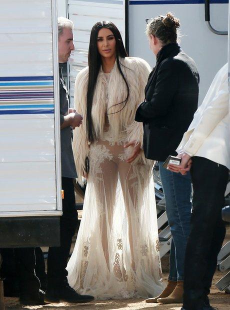 Kim Kardashian on set filming Ocean's Eight